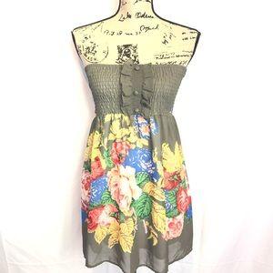 Papaya L gray floral strapless mini dress stretch
